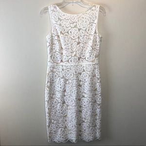 Ellen Tracy White Lace Dress w/ Tan Underlay SZ 10